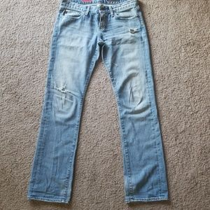 AG Disstressed Tomboy Jeans